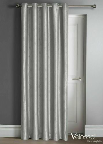 "Embossed Wave Thermal Light Reducing Ring Top Eyelet One Door Curtain Panel, 46"" X 84"" Silver"